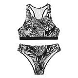 Women High Waisted Swimsuit High Cut Bikini 2 Piece Cutout Bathing Suit Sport Crop Top Swimwear (Black, L)