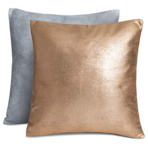 Rendiele Cushion Covers Suede Decorative Square Pillow Case, Christmas Stylish Throw Cushion Cover for Sofa ,Bedroom ,Livingroom Car, 40x40cm,Pack of 2 (Shiny)