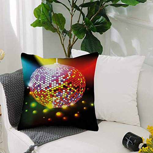 Washable Cushion Covers 20x20 Inch,Popstar Party,Vibrant Colorful Disco Ball Nightclub Celebration Party Dance and Music Print,Square Decorative Throw Pillowcases for Livingroom Sofa Bedroom 50cmx50cm