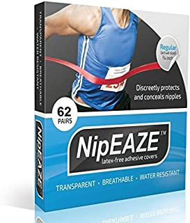 NipEaze - 4pack Value - The Original Transparent Nip Protector - Nipple Chafing Prevention; 62 pairs