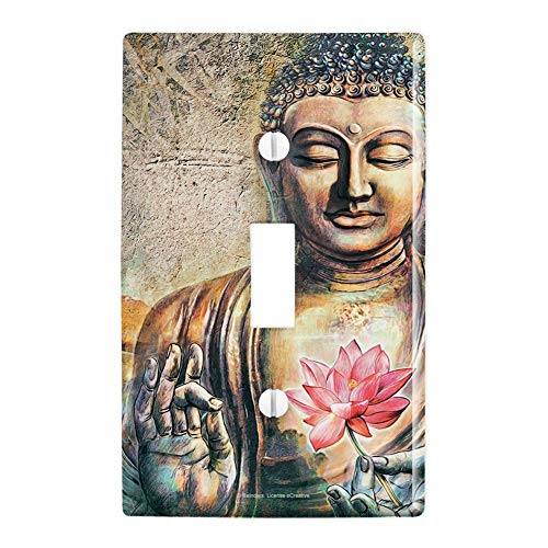 GRAPHICS & MORE Buddha Pink Lotus Flowers Serenity Plastic Wall Decor Toggle Light Switch Plate Cover