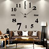 Ayangg 3D DIY Analog Wall Clock Modern Home Decoration Mirror Stickers Livingroom Tool Frameless DIY Wall Clock, Simple and Beautiful, Belongs To You