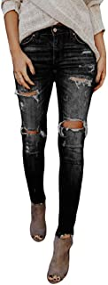 ZEZKT Vaqueros Rotos Mujer, Moda Slim Fit Pantalones De Mezclillade Push Up LáPiz Jeans EláStico Skinny Vaqueros Cintura M...