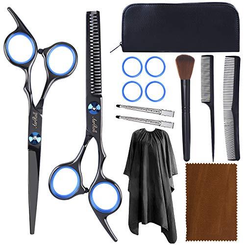 Hair Scissors Cutting Kit, Professional Stainless Steel Hair Cutting Barber Shears (BLACK)
