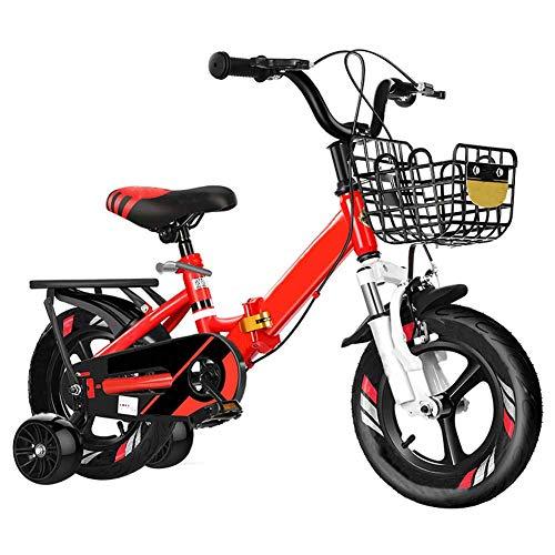 FDSAG Kinderfahrrad Mit Stützrädern, Jungen-Mädchen-Fahrrad, Kinderfahrrad Faltbare, Kleinkind-Fahrrad Mit Integriertem Rad,18 inch