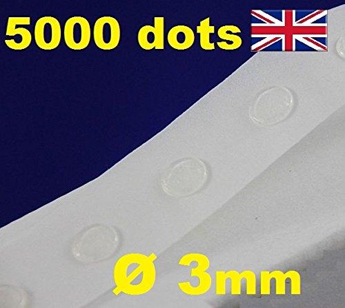 5000 transparente und abnehmbare Klebepunkte, Durchmesser 3 mm, leicht anzuwenden
