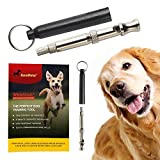 forepets Dog Training Whistle with Black Lanyard to Stop Barking. Professional Silent Adjustable Ultrasonic Tool to Train and Control Poppy Bark