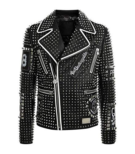 Brando - Giacca in pelle da motocicletta, stile retrò, rock, punk - nero - Medium
