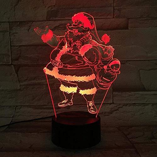 XLLQYY Noël père noël 3D Lampe cadeau Unique Pour Enfant Pour Bureau Multicolore con pantalla LED Lampe Lampara 3D optique-2_Black_with_Remote