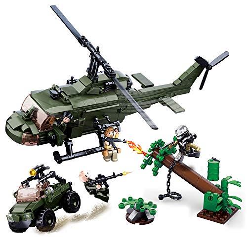 Modbrix Predator Filmszene: Bausteine Hubschrauber + Geländewagen mit Soldaten & Predator Minifigur