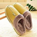 Flip flop-gq zapatillas de algodón de pareja zapatillas de invierno cálidas de invierno pu impermeables zapatillas de casa zapatillas de hombre y mujer-amarillo_40-41