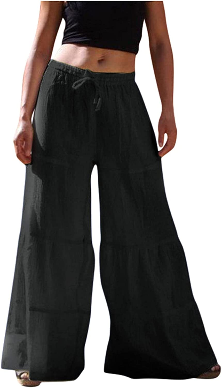 R-cors Womens Plus Size Cotton Linen Wide Leg Solid Color Trousers Ruffled Loose Elastic Waist Beach Trousers