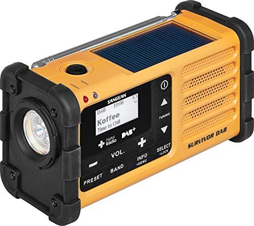Sangean MMR-88 Survivor M8 Radio - Tragbares Notfall radio - Kurbelradio mit Notsummer und LED Taschenlampe - Schwarz/Gelb