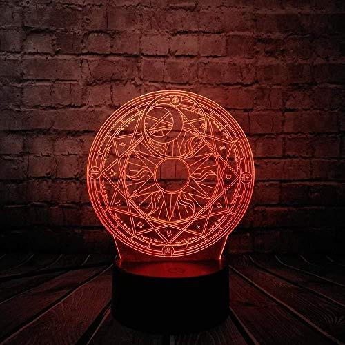 Luz de noche 3D animación de dibujos animados flor de cerezo círculo mágico luz de noche 3D bombilla led multicolor juguete para niños