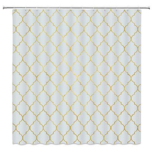 AdaCrazy Cortina de Ducha geométrica Simple patrón geométrico Blanco Dorado Tela Decorativa Cortina de baño Cortina de baño Moderna 71x71 Pulgadas Incluyendo 12 Ganchos de plástico