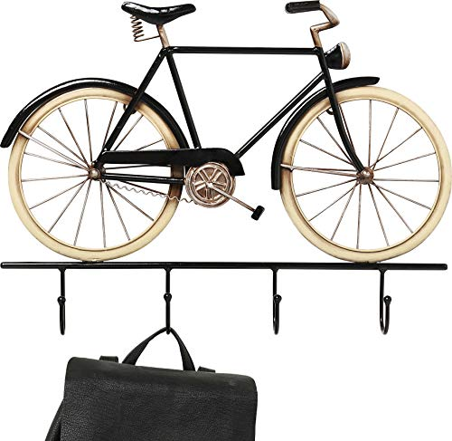 Kare Design Wandgarderobe City Bike Pole, fiets garderobe met 4 haken, garderobe zwart met ophangmogelijkheden voor jassen, (H/B/D) 37x50x4,5