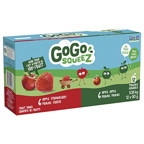 Go Go squeeZ Fruit Sauce, Variety Pack (Apple/Apple Strawberry) 1,080g per unit (12 X 90g per pouch)