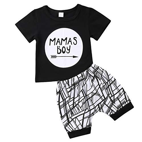Geagodelia Babykleidung Set Baby Jungen Kleidung Outfit T-Shirt Top + Hose/Shorts Neugeborene Kleinkinder Weiche Babyset (6-12 Monate, Mama's Boy (Schwarz 046))