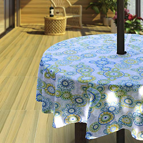 Hipinger Heavyweight Wrinkle-Free Stain Resistant Waterproof Outdoor Tablecloth with Umbrella Hole and Zipper,60 Inch Round, Seats 4 People (Cheerful Bubbles, 60' Round-Zippered)