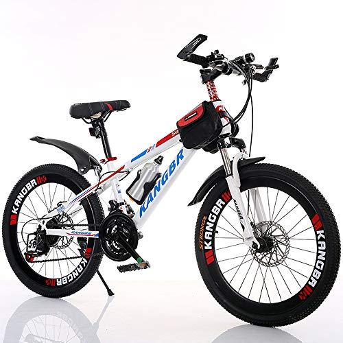Nerioya Erwachsenen-Mountainbike, 21-Gang-Schaltung/Stoßdämpfung/Fahrrad Mit Scheibenbremsen, Rahmen Aus Hohem Kohlenstoffstahl Mit Wasserkocher + Tasche,A,22in