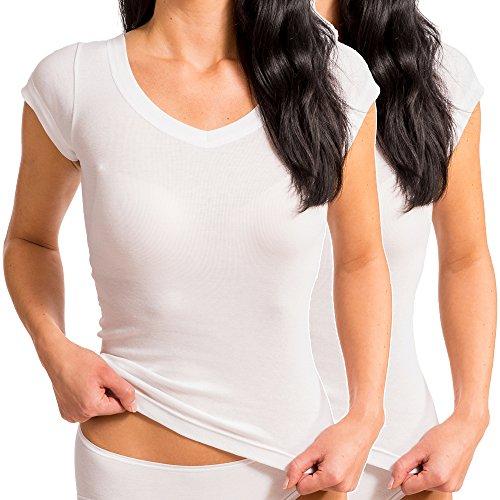 HERMKO 99384920 2er Pack Korsett-Hemd mit Arm und V-Ausschnitt ohne Seitennaht aus 100% Bio-Baumwolle, Farbe:weiß, Größe:XXL