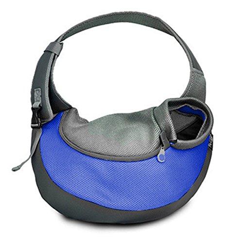 Maison K.W Sac Porte Chien en Tissu Oxford PU avec Sangles Ajustables Sac Bandoulière pour Transport du Chien(L-Bleu)…