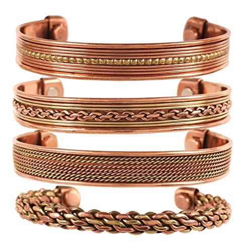 Touchstone Copper Magnetic Healing Bracelet Tibetan Style. Hand Forged with Solid and high Gauge Pure Copper. Set of 4 Different Designs