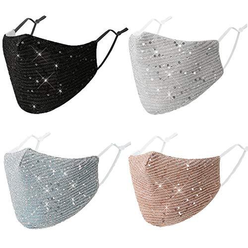 4Pcs Glitter Bling Bling Face Mask Women Sequin Fashion Fancy Sparkle Wedding Cute Face Masks for Women