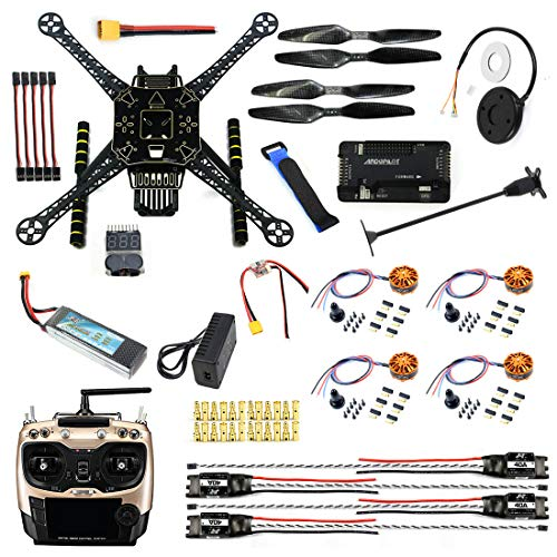CS PRIORITY DIY GPS Drone Racer APM 2.8 Flight Controller S600 4-Axis Unassembled Quadcopter Kit with Landing Gear AT9S Transmitter Battery