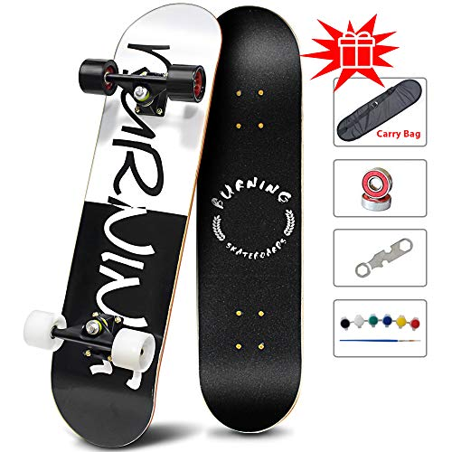 Easy_Way Complete Skateboards -Standard Skateboards for Beginner Starter - 31''x 8''Canadian Maple Pro Cruiser Standard Skate Boards Longboard Skateboards