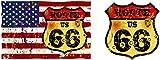Etaia - Auto Aufkleber Set: Fahne der USA Vintage Route 66 + Wappen Sticker Motorrad Bike