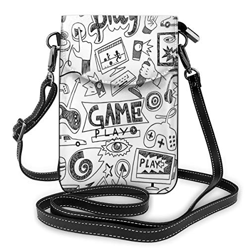 Women Small Cell Phone Purse Crossbody, Monochrome Sketch Style Gaming Design Racing Monitor Device Gadget Teen 90s