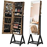 SONGMICS Jewelry Cabinet, Freestanding 3-in-1 Cosmetics Storage Cabinet, Lockable Jewelry Armoire with Mirror, Mesh Shelf, Metal Frame, Industrial Style, Rustic Brown and Black UJJC97BC