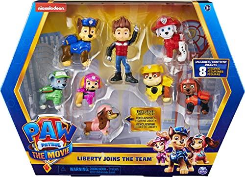 Paw Patrol 6063421 Paw FGR FgGftPk LibertyMovie INTL GML Liberty Joins The Team 8 Movie Coffret Cadeau avec Figurine Exclusive à Collectionner, Jouets pour Enfants à partir de 3 Ans