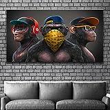 Animal divertido gorila lienzo pintura mono con gafas auriculares arte carteles e imágenes decoración de la sala de estar mural 55x110cm (22x43in) sin marco