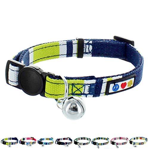 PAWTITAS Haustier-Halsband für Katzen, weich, verstellbar, mit Sicherheitsschnalle und abnehmbarem Glöckchen, Grün/Weiß/Blau
