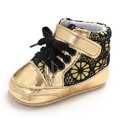 QINJLI Baby schoenen, Lente en Herfst 0-1 jaar oude peuter schoenen PU riem met klittenband Zachte bodem slip 11-13cm 12cm