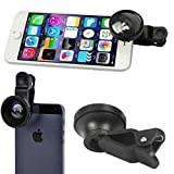 LG Stylo 3 Compatible Selfie Camera Lens Kit Fisheye Macro Wide Angle with Clip Attach Black