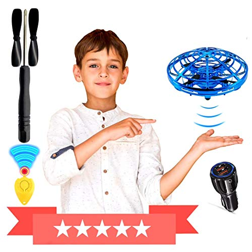 Museco Mini Drone Flying Toys, Gifts for Kids & Adults - Easy Playing Indoor & Outdoor - Self Flying Drone UFO for 6 to 10 Years Old Boys & Girls (Blue)