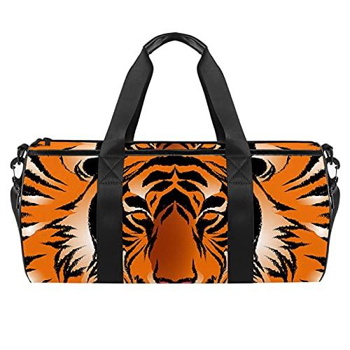 Tiger Stripe Animal Sport Gym Bag Cilindrico Viaggio Borsone da Viaggio con Tasca Umida Leggera Borsa Allenamento Viaggio con Tracolla per Uomo Donna