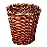 GLP Papelera de mimbre tejida de ratán, cesta de basura redonda para el hogar,...