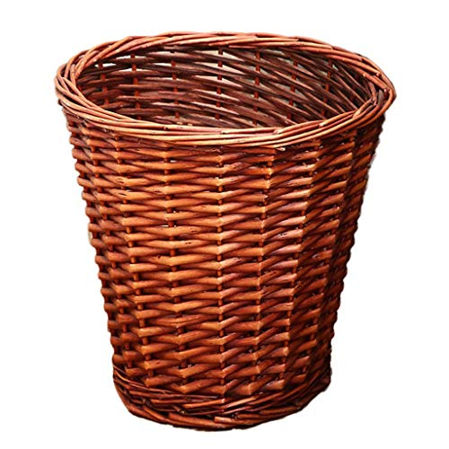 XBSLJ Woven Wicker Trash Can Rattan Waste Paper Basket,household Round Garbage Can Rubbish Bin Whitout Lid,decorative Storage Basket For Bedroom Kitchen Office A