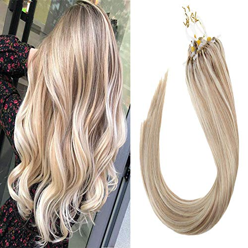 Sunny 22inch Micro Ring Hair Extensions Human Hair Dark Ash Blonde Mixed Bleach Blonde #18/613 Highlight Remy Micro Loop Hair Extensions 1g/s 40g+10g for free,50g/pack in Total.