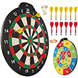 Esjay 18 inch Magnetic Dart Board Set, Safe Dart Game for Kids, Best Boy Toys Gift Indoor Outdoor Game with 12 Darts, Double Sided Large Size Dartboard