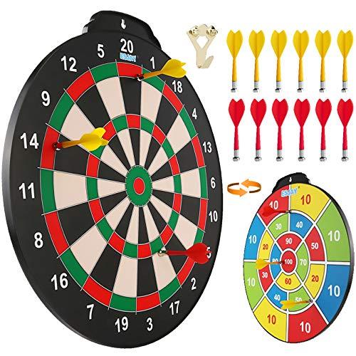 Esjay 45,7 cm Magnetisches Dartscheibenset, sicheres Dartspiel für Kinder, Junge Spielzeug Geschenk für drinnen und draußen mit 12 Darts, doppelseitige Dartscheibe