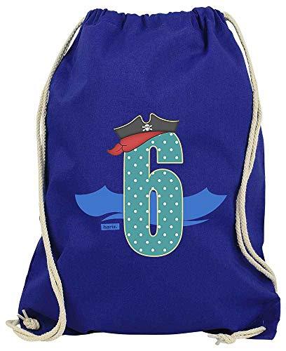 Hariz - Bolsa de deporte, diseño de sombrero de pirata, 6 cumpleaños, color azul real, tamaño talla única