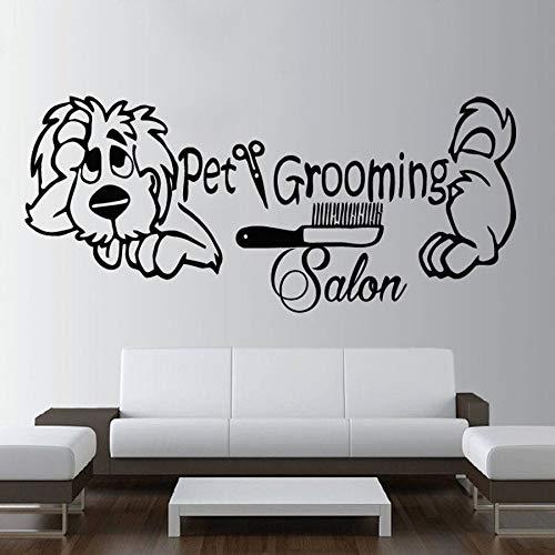 fdgdfgd Pet Grooming Salon Wandtattoo Bester Freund Tierhund Niedlicher Wandbild Aufkleber Abnehmbare Monochrome Kunst Wallpaper