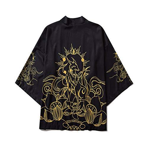 WYUKN Chaqueta Haori Hombre, Trajes Tradicionales Japoneses Orientales Hombres Moda Kimono Haori Cárdigan para Mujer Verano Chaqueta Fina Ropa de Playa,Black-Large