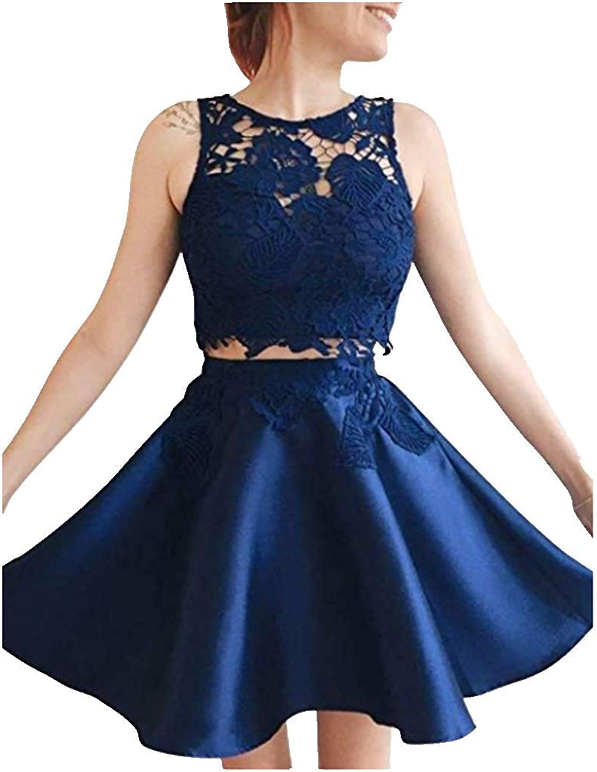 FWVR Lace Two Piece Homecoming Dresses for Juniors Short Satin Prom Party Gowns