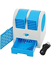 Credly Mini Fan & Portable Dual Bladeless Small Air Conditioner Water Air Cooler Powered by USB & Battery Use of Car/Home/Office (Multi-Color)